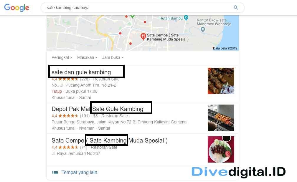 nama profil bisnis di Google my business