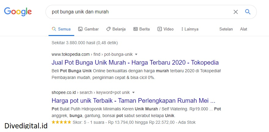 contoh search intent